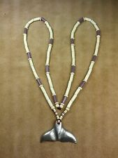 Pewter Whale Tail, Survival Knife, Wampum Necklace Eastern Woodlands, Longhunter