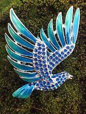 Blue Enamel Vintage Bird Pin Brooch Silver Tone Green Parrot Enameled Vtg Animal