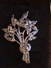 Vintage Silvertone and Marcasite Brooch - Boxed