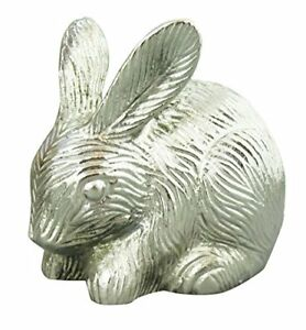 Silver Coloured Rabbit Urn for Pet Ashes Cremation Memorial