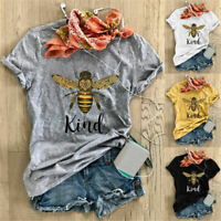 Women Bee Kind Insect Blouse Hipster Casual Slogan Crew Neck Top Tee T-Shirt