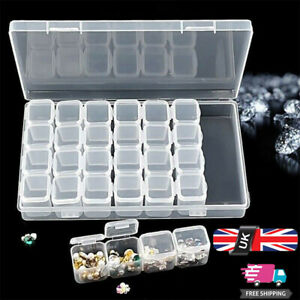 28 Grids Diamond Painting Storage Box Nail Tips Bead Embroidery Organiser Case