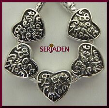 5 Best Mom Heart Antique Silver Spacers fits European Style Charm Bracelet S070