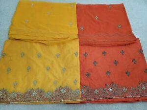 *defect* 2x Salwar Kameez Unstitched Fabric Material Bundle Orange and Yellow