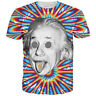 Women Men T-Shirt 3D Print Short Sleeve Tee Tops Giddy Scientist Albert Einstein