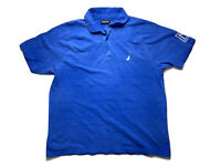 Nautica Mens Polo Shirt Size L Bright Blue Embroidered Logos