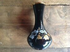 Vintage Black Vase with Gold Flowers