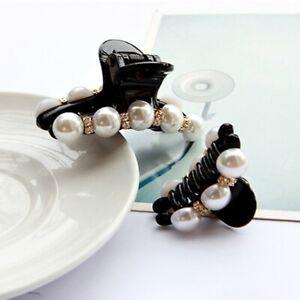 Fashion Women Bun Rhinestone Flower  Pearl Hair Claw Horsetail Hair Clip Tie