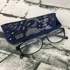 Foster Grant Isa Navy Blue +3.00 Womens Reading Glasses With Original Case
