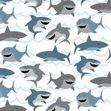 Fabric Sharks on White Cotton Riley Blake by the 1/4 yard