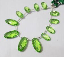 Peridot Hydro Quartz Handmade Oval Shape Briolette Beads-10-20mm 12 Pieces