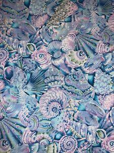 Hoffman Fabric Tide Pools Seashells in Blues & Purples w/ Metallic SILVER BTHY