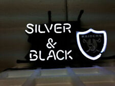 "Las Vegas Raiders Silver And Black Neon Lamp Sign 20""x16"" Bar Light Beer Decor"