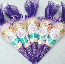 10 X Purple Unicorn Themed Pre Filled Sweet Cones Personalised + Free Sweety Bag