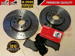 FOR NISSAN 350z 350 z G35 ROADSTER FRONT DRILLED GROOVED BRAKE DISCS BREMBO PADS