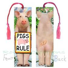 Fun PIG BOOKMARK w/TASSEL LARGE ART PIGS RULE Sign Lover Book CARD pink Figurine