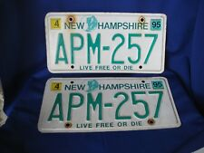 Pair of 1995 New Hampshire Slogan License Plates w Old Man of The Mountain Logo