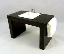Dolls House Miniature Bathroom Furniture Modern Sink Basin in Black Unit