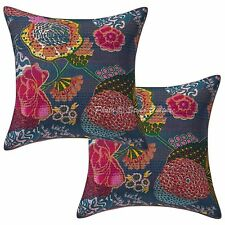 Handmade Printed Kantha Cotton Cushion Pillow Covers Grey Tropicana Pillowcase