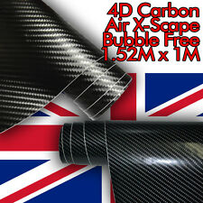 GLOSS 4D CARBON FIBRE VINYL ROLL FULL CAR WRAP 1.52M X 1M BUBBLE FREE BLACK