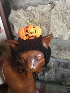 Hand Knitted Black Base Pumpkin Halloween Hat For Your Cat/small Dog ,New