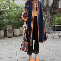 New Womens Printed Long Cardigan Coats BOHO Long Jacket Summer Outwear AU
