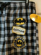 NWT DC COMIC BATMAN MEN'S PAJAMA FLEECE SLEEP PANTS LOUNGE PJ PLAID XL