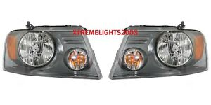FORD F150 2004-2008 SHADOW GRAY LEFT RIGHT HEADLIGHTS HEAD LIGHTS LAMPS PAIR