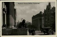 Madrid Spanien Espana s/w AK 1932 gelaufen Carrera de San Jerónimo Straßenpartie
