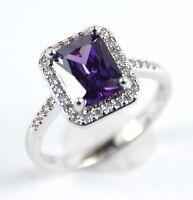 Women's 18 carat White Gold Plated Purple Cubic Zircon Ring Jewellery