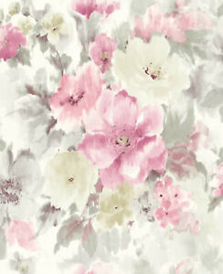 """Grey & Pink Floral Watercolor Printed Wallpaper Bolt -  20.5"""" x 396"""" Roll"""