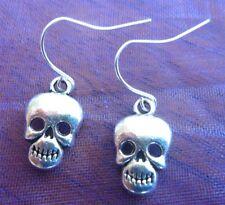 Silver Tibetan Skull Skeleton Bones Drop Down Earrings. Free Shipping