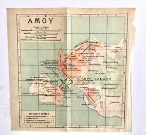 XIAMEN AMOY CITY ANTIQUE CHINA MAP 1915 ORIGINAL
