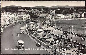 The Promenade Gardens Douglas Isle of Man Postcard Trams 1960