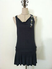 Free People womens dress gray mini micro floral racer back sleeveless size XS