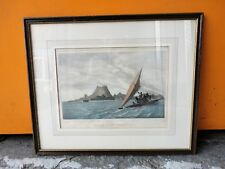 ANTIQUE VUE DE L'ILE KANDABON HAND COLOURED LITHOGRAPH PRINT BY VICTOR ARAGO