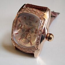 Men's Brown Leather Band Hip Hop Bling Fashion Dressy/Casual Wear Wrist Watch