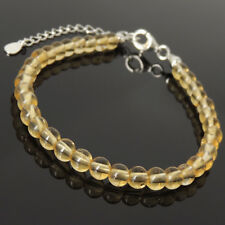 Men's Women Bracelet 5mm Natural Citrine 925 Sterling Silver Clasp Link 1248