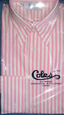 COLES Size 10 Pink Stripe Ladies Shirt Forward Point Collar FRENCH CUFFS