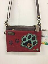 Chala Paw Print Mini Crossbody Bag Small Convertible Purse Burgundy Red & Teal
