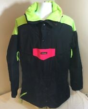 Vtg Columbia Mens Ski Snowboard Jacket Parka Black Neon Colorblock Large FS!