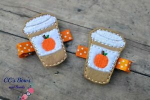 Pumpkin Spice Latte Felt Hair Clips - Set of Two - Hair Bows for Girls Toddlers