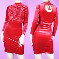 VINTAGE 90s Red Velvet Ruched Cocktail Bodycon Stretch Wiggle Mini Dress XS 6 8