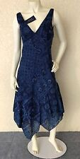 Polo Ralph Lauren 2 NWT $398 Long Dress Navy Cotton Blue Batik Uneven Hem Maxi