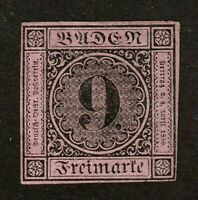Baden stamp #4a, MH, VF German State,1st Printing, thin paper, 1851, SCV $2800
