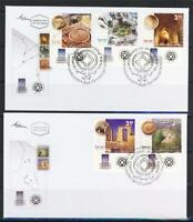 ISRAEL 2007 2008 UNESCO HERITAGE SITES 5 STAMPS ON 2 FDC VF TEL AVIV MASADA