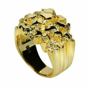 Men's 14k Gold Over REAL Solid 925 Sterling Silver Heavy Nugget Ring Size 6-13