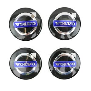 Set of 4 Volvo Black Center Caps 31400453 for Volvo Wheels C70 S60 S80 V70 XC70