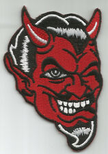 RED DEVIL FACE WINKING ROCKABILLY MOTORCYCLE LEATHER JACKET VEST BIKER PATCH