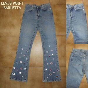 jeans da donna a vita alta zampa bootcut pantaloni vintage indian rose w27 w29